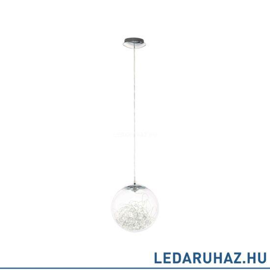 EGLO 49891 VALENCA Króm függesztett LED lámpa üveg burával, 25 cm, 7W, 3000K melegfehér, 470 lm + ingyen szállítás