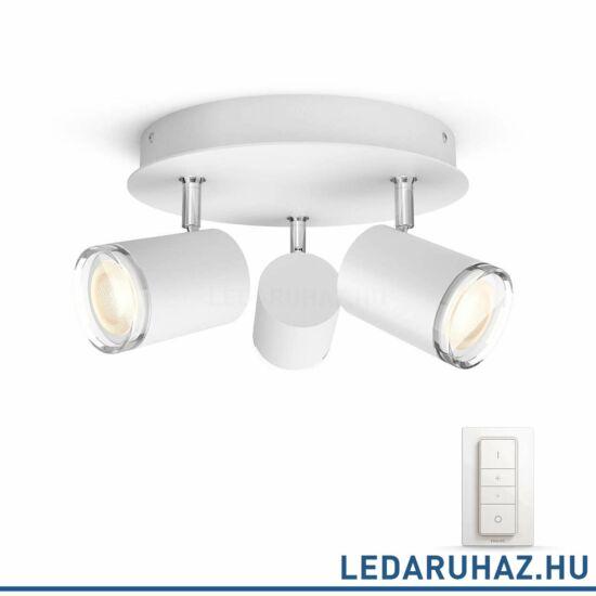 Philips Hue Adore fürdőszobai lámpa, fehér, 3x5.5, 230V, IP44, 2200-6500K, +DimSwitch, 3436131P7