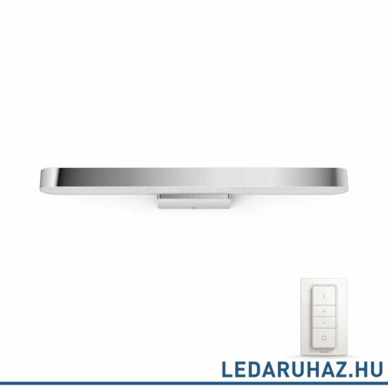 Philips Hue Adore LED tükör megvilágító lámpa, fürdőszobába, króm, 40W, 24V, IP44, 2200-6500K, +DimSwitch, 3435111P7