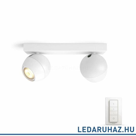 Philips Hue Buckram LED spotlámpa, fehér, változtatható színhőmérséklet 2200-6500K, 2x5.5W, 500 lm, 50472/31/P7