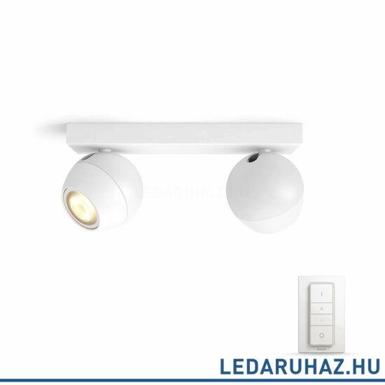 Philips Hue Buckram spotlámpa, fehér, változtatható színhőmérséklet 2200-6500K, 2x5.5W, 500 lm, 50472/31/P7