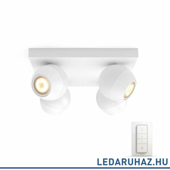 Philips Hue Buckram spotlámpa, fehér, változtatható színhőmérséklet 2200-6500K, 4x5.5W, 1000 lm, 5047131P12