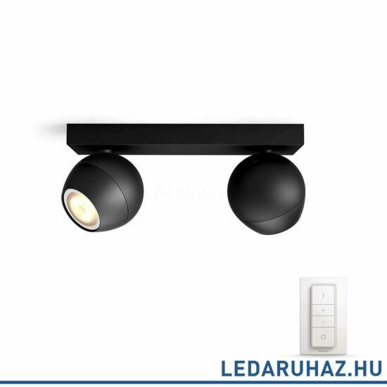Philips Hue Buckram spotlámpa, fekete, változtatható színhőmérséklet 2200-6500K, 2x5.5W, 500 lm, 50472/30/P7