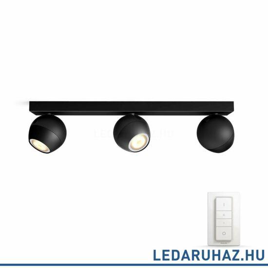 Philips Hue Buckram spotlámpa, fekete, változtatható színhőmérséklet 2200-6500K, 3x5.5W, 750 lm, 50473/30/P7