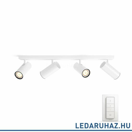 Philips Hue Buratto LED spotlámpa, fehér, változtatható színhőmérséklet 2200-6500K, 4x5.5W, 1000 lm, 50464/31/P7