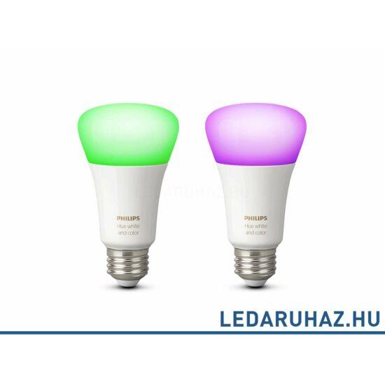 Philips Hue E27 GEN3 White and Color smart LED fényforrás, dupla csomag, RGBW, 2x10W, 806 lumen, 8718696729052