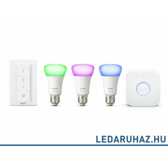 Philips Hue E27 GEN3 White and Color smart LED kezdőkészlet, RGBW, 3x10W  + Bridge + DimSwitch - 8718696728796