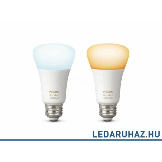 Philips Hue E27 White Ambiance fehér, változtatható színhőmérsékletű 2000K-6500K fényforrás, 2x9,5W, dupla csomag, 8718696729083
