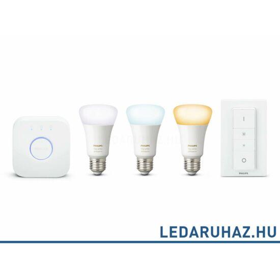 Philips Hue E27 White Ambiance fehér, változtatható színhőmérsékletű 2000K-6500K kezdőkészlet, 3x9,5W + Bridge + DimSwitch 8718696728925