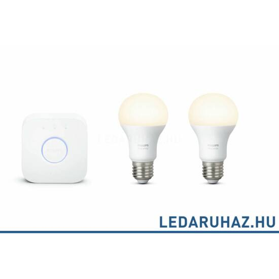 Philips Hue E27 White kezdőcsomag 2x9.W 806 lm E27 Smart LED + Bridge, 8718696449554