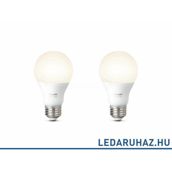 Philips Hue E27 White LED fényforrás, dupla csomag, 2700K melegfehér 9.5=60W, 806 lm, 8718696729113