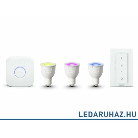 Philips Hue GU10 kezdőcsomag 3 db RGBW 6.5=35W GU10 Smart LED fényforrás, 250 lumen + Bridge + DimSwitch - 8718696748930