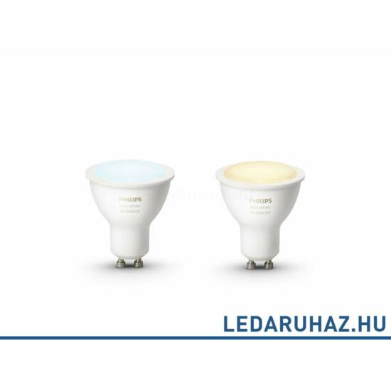 Philips Hue GU10 LED dupla csomag, 5,5W, 250lm@4000K, változtatható színhőmérséklet 2200K-6500K, 8718696671184