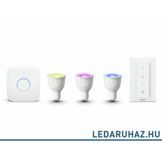 Philips Hue GU10 LED kezdőcsomag 3 db RGBW 6.5=35W GU10 Smart LED fényforrás, 250 lumen + Bridge + DimSwitch - 8718696748930