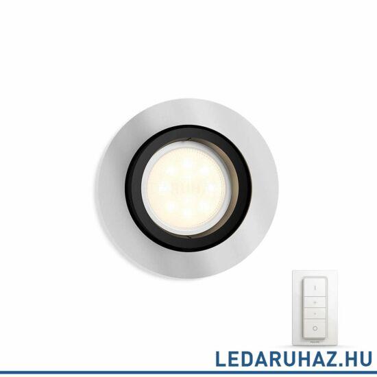 Philips Hue Milliskin süllyeszthető LED spotlámpa, kör, alumínium, 5,5W, 250 lm@4000K, 2200K-6500K + DimSwitch, 50411/48/P7