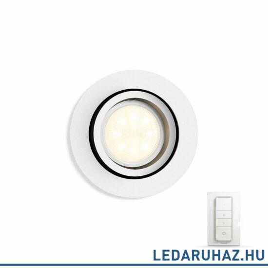 Philips Hue Milliskin süllyeszthető LED spotlámpa, kör, fehér, 5,5W, 250 lm@4000K, 2200K-6500K + DimSwitch, 50411/31/P7