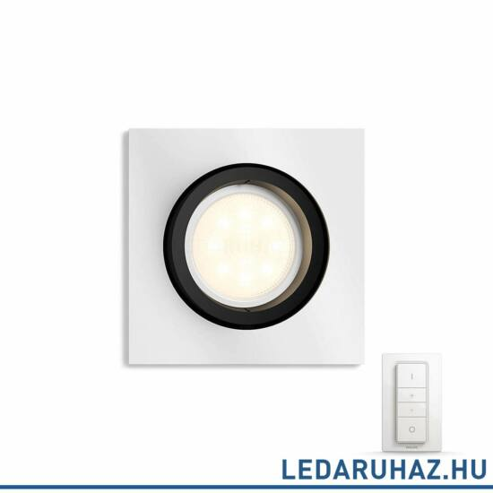 Philips Hue Milliskin süllyeszthető LED spotlámpa, szögletes, alumínium, 5,5W, 250 lm@4000K, 2200K-6500K + DimSwitch, 50421/48/P7