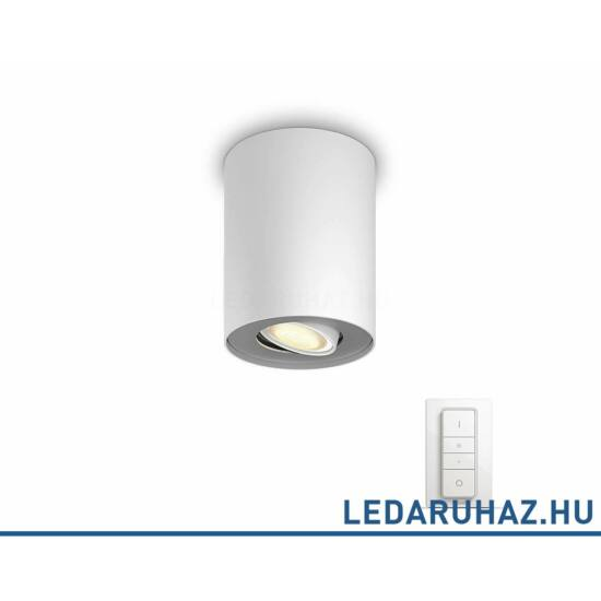 Philips Hue Pillar fehér mennyezeti LED GU10 spot 2200K-6500K + DimSwitch, 56330/31/P7