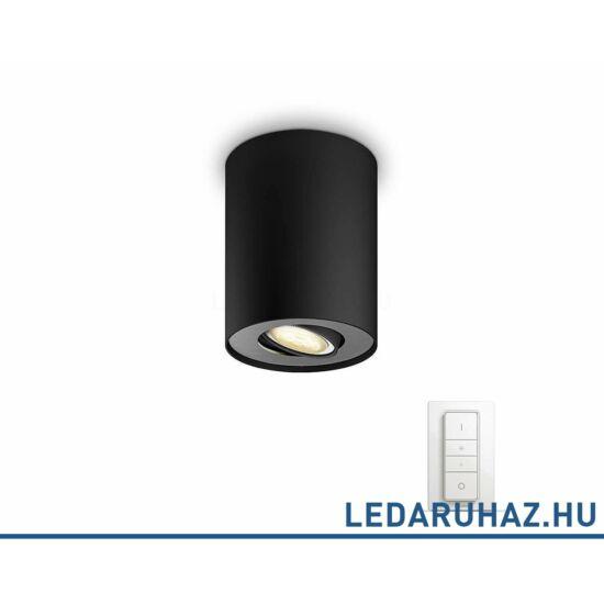 Philips Hue Pillar fekete mennyezeti LED lámpa GU10 spot, 2200K-6500K + DimSwitch 56330/30/P7