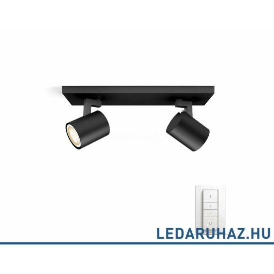 Philips Hue Runner dupla mennyezeti fekete  LED spot, 2200K-6500K 2xGU10+DimSwitch, 53092/30/P7