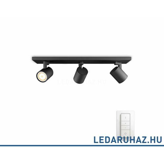 Philips Hue Runner hármas mennyezeti fekete LED spot, 2200K-6500K 3xGU10+DimSwitch, 53093/30/P7
