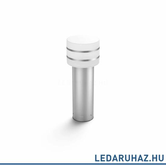 Philips Hue Tuar kültéri LED állólámpa, inox, 9.5W, 230V, IP44, 2700K melegfehér fényforrással, 1740447P0