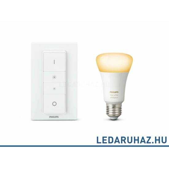 Philips Hue WhiteAmbiance DimKit - vezeték nélküli dimmer kit 1 db. E27 9,5W=60W 2700K LED fényforrás+fali dimmer, 929001200141
