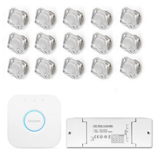 15 db. 12V  Crystallo LED spot + HUE Bridge + Zigbee LED dimmer + tápegység