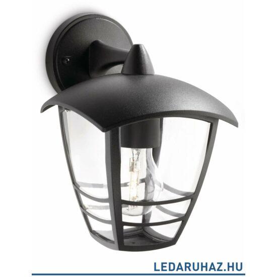 Philips Creek kerti kültéri fali lámpa, E27 foglalat, fekete, 153813016 + ajándék LED fényforrás
