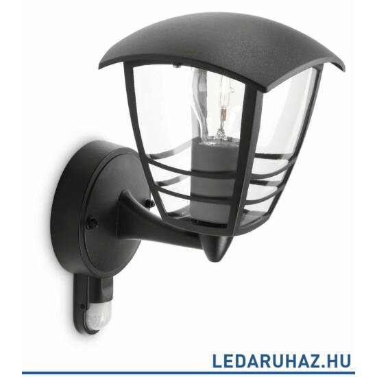 Philips Creek mozgásérzékelős kerti kültéri fali lámpa, E27 foglalat, fekete, 153883016 + ajándék LED fényforrás