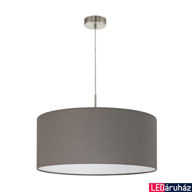 EGLO 31578 PASTERI Textil függesztett lámpa, 53cm, antracit, E27 foglalattal + ajándék LED fényforrás