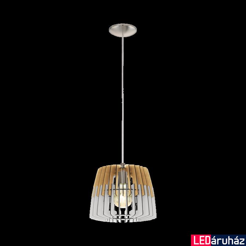 EGLO 32825 ARTANA Fa függesztett lámpa, 30cm, natúr fa/fehér, E27 foglalattal + ajándék LED fényforrás