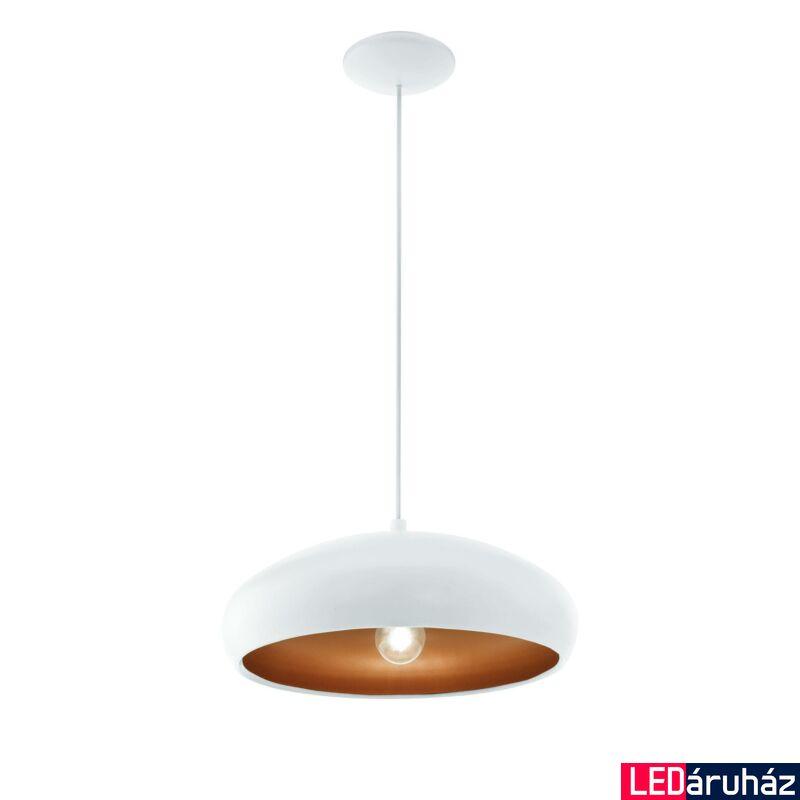 EGLO 94606 MOGANO 1 Fehér/réz függeszték, E27 foglalattal, 40cm átmérő, 110cm, 1x60W + ajándék LED fényforrás