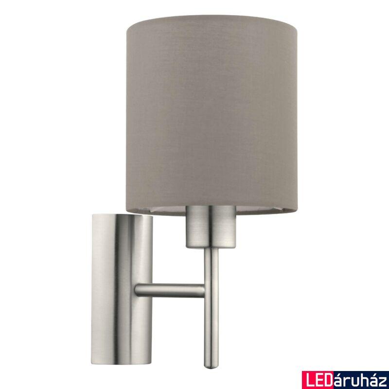 EGLO 94925 PASTERI Textil fali lámpa, 14,5cm, szürkésbarna, E27 foglalattal + ajándék LED fényforrás
