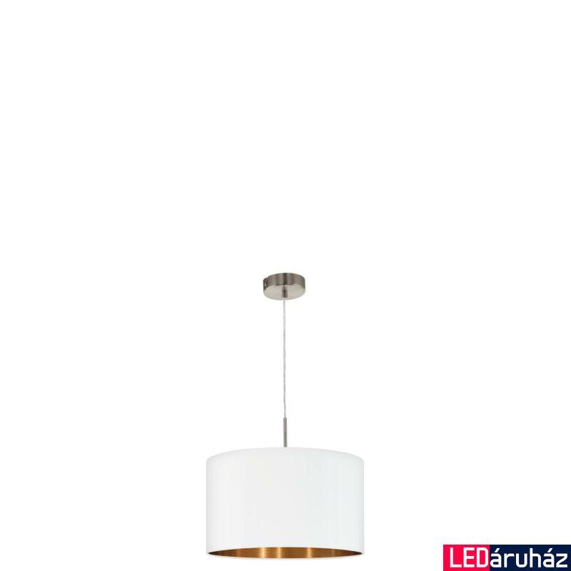 EGLO 95044 PASTERI Textil függeszték, 38cm, fehér/réz, E27 foglalattal + ajándék LED fényforrás