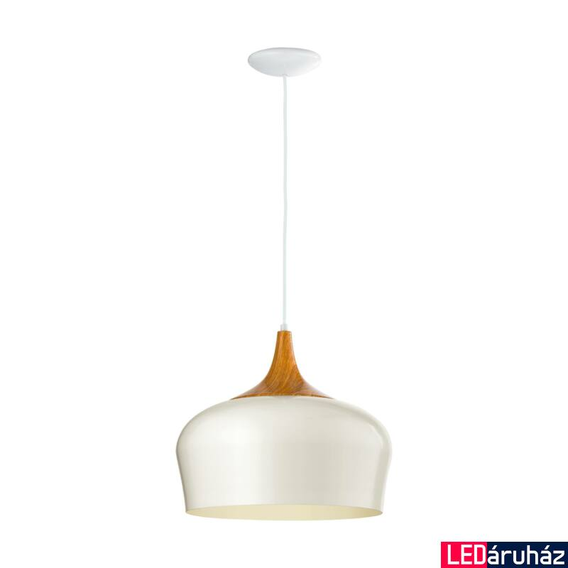EGLO 95383 OBREGON Krémszín/tölgy függeszték, E27 foglalattal, 35cm átmérő, 110cm, 1x60W + ajándék LED fényforrás