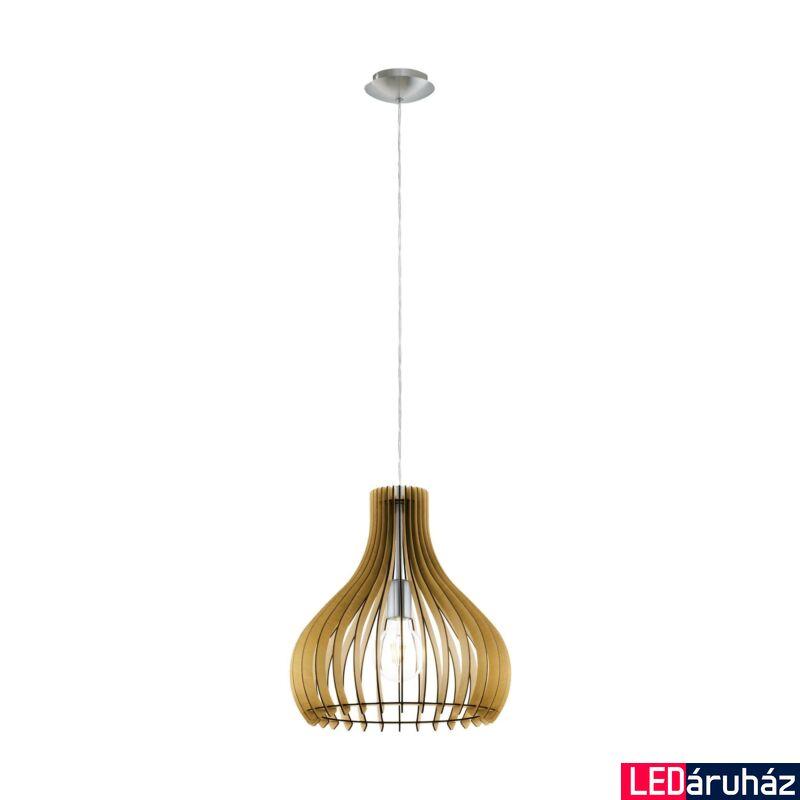 EGLO 96258 TINDORI Fa függesztett lámpa, 38cm, juhar, E27 foglalattal + ajándék LED fényforrás